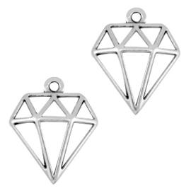DQ metalen bedels diamant Antiek zilver (nikkelvrij)  ca. 18x16mm (Ø1.2mm)
