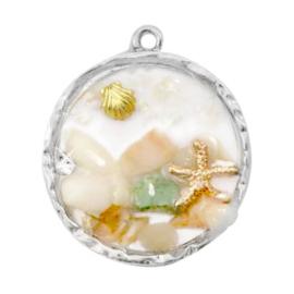 1 x Bedel met schelpjes en steentjes Silver-multicolour