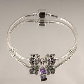 Kralen Set paars 925 sterling zilver (Zonder armband)