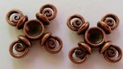 2 x  Rood koperen metalen kastje spiralen 20 mm ruimte voor 5 mm plaksteen