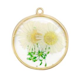 1 x bedels met gedroogde bloemetjes Gold-white green