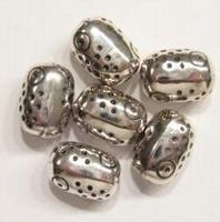 15 stuks antiek zilveren metalen kunststof kraal ovaal bewerkt 12 mm