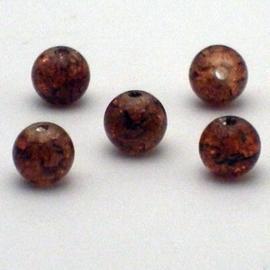 30 stuks crackle glas kralen 8mm bruin
