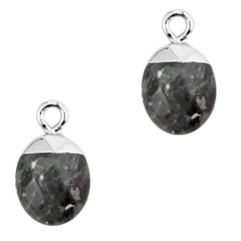 1 x Natuursteen hangers Anthracite-silver Shimmer stone