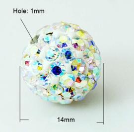 1 x prachtige Shamballa Polymeer Klei strass bal kristal AB 14mm  gat: 1mm