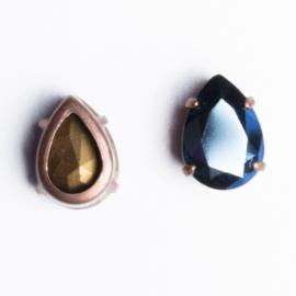 1x Ornament met kristal strass 14 x 10 x 6,5mm kleur: blauw brons kleur
