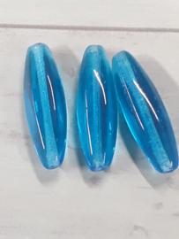 1 x Mooie ovale blauwe glaskraal 25 x 6 mm gat : 1 mm