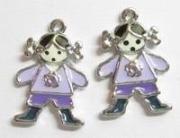 2 x Per stuk Metalen bedel meisje met lila epoxy 24 mm