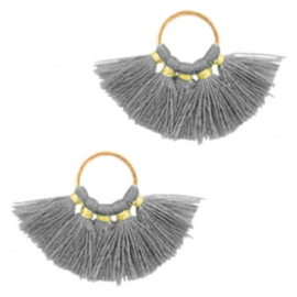 Kwastjes hanger Gold-dark grey