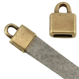 DQ metaal eindkapje vierkant (voor 5mm plat leer) geel koepr kleur  ca. 7x6x5mm Ø 5.2x2.2mm