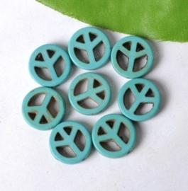 2x grote keramiek turquoise peace kraal 35 x 4 x 1mm