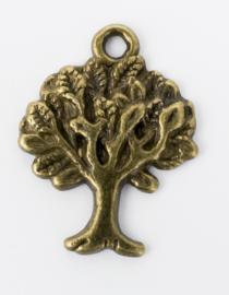 5x Geelkoperen bedels van een boom 21,3 mm x 16,5 mm