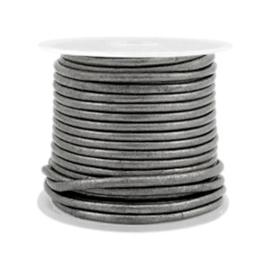 50 cm DQ leer rond 2 mm Horizon grey metallic
