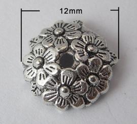 10 stuks tibetaans zilveren kralenkapjes  12 x 12 x 3,5mm Gat 2mm