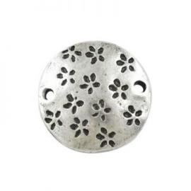 10 x Metalen Bedel/Tussenzetsel Rond Antiek Zilver 12x12 mm Ø 2mm