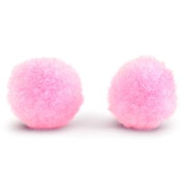 5 x Pompom bedel 8mm Light pink ~zonder oogje