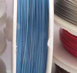 Rijgdraad met coating, licht blauw 0,45 mm x 100 meter