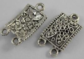 Tibetaans zilveren tussenzetsel verdeler  22 x 12,5 x3mm Gat: 3mm