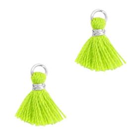 3 x Kwastjes 1cm Zilver-Neon green