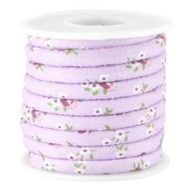 20 cm Trendy gestikt koord bloemetjes 5.5x4mm Violet purple