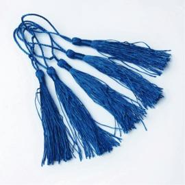 Satijn kwast lengte kwast 9 cm incl. lus 130 x 6mm blauw