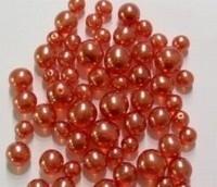 Glas-set transparant meloen-rood met mooie parelmoer glans in 3 maten 10 mm, 8 mm en 6 mm c.a. 60~70 gram