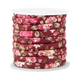 20 cm Trendy gestikt koord 6x4mm Aubergine red - rose