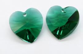 Prachtige glas facet Hanger hart emerald 14x14mm gat: 1,2mm