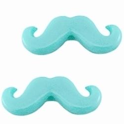 10 Stuks Kunststof kraal moustache snor  Aqua 20 x 8 mm