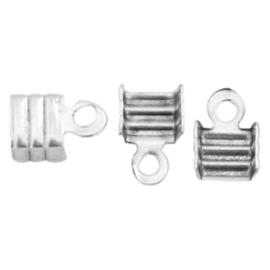 10 x Onderdelen DQ metaal veterklem 3mm Antiek zilver (nikkelvrij)