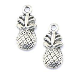 10 x Metalen Ananas Bedel Antiek Zilver kleur