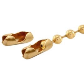 10 x Basic Quality metaal eindkapje/slotje voor ball chain 1.5mm Goud