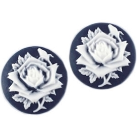 Per stuk Camee rond 20 mm Hollands blauw / wit  20mm
