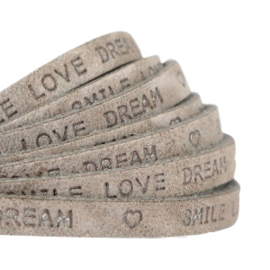 "Per 10 cm Plat 5 mm DQ leer met ""smile love dream"" print Dark Country grey"