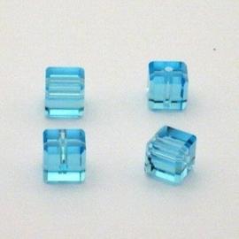3x Preciosa Handgeslepen kristal kraal 8mm aqua