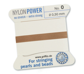 Nylon Power no stretch - extra strong 2 meter met naald  No: 0 Ø 0,30mm beige