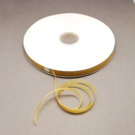 5 meter Organza lint 10mm breed per meter,  Licht bruin - goud
