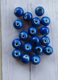 10 stuks 3D miracle kraal,  blauw rond 8mm gat c.a. 1,5mm