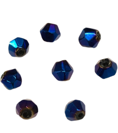 20 x Pesciosa biconekristal kralen 4 mm gat 1 mm donker blauw AB
