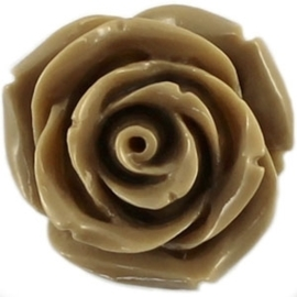 2 x  Kraal roos 22 mm Donker camel bruin met rijggat