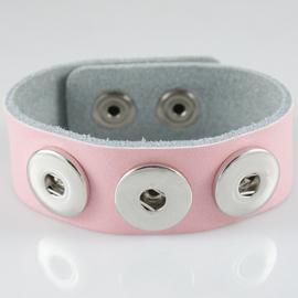Drukker armband van runderleder en drukknoopsluiting enkele rij voor drie verwisselbare drukkers roze 24cm