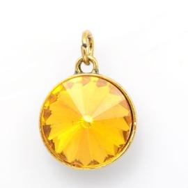 Geboorte steen hanger prachtig kristal facet 18 x 12mm - November Topaas Goudkleur