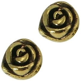 2 x Metalen Kraal Bloem 11 mm Medium Antiek Goud Ø 4-5 mm