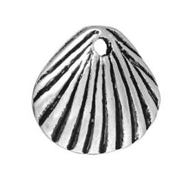 2 x Bedel Schelpje Antiek Zilver 12x11 mm
