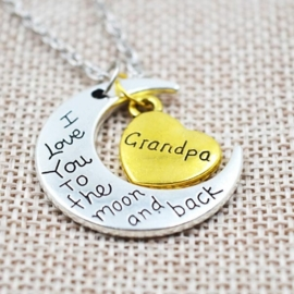 Prachtige ketting 5cm bedel: love you to the moon and back Grandpa Opa ketting: 40cm