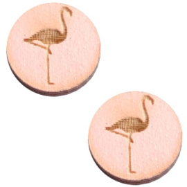 2 x Houten cabochon basic 12 mm flamingo Pink