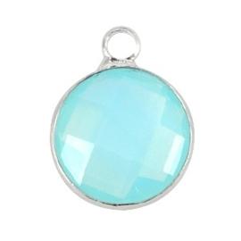 Crystal glas hanger rond 12mm Aqua blue opal-Silver