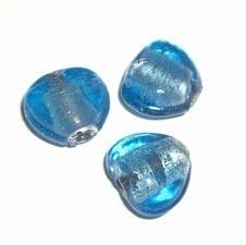 10 x  glaskraal zilverfolie blauw hartvormig 17 x 17 mm ♥