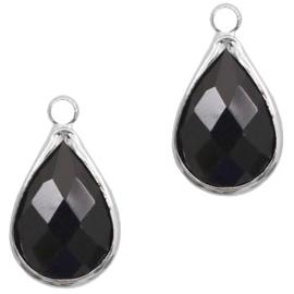 Per stuk Hangers van crystal glas druppel 10x14mm Jet black-silver