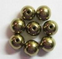 10 Stuks Glaskraal rond brons glans 6 mm